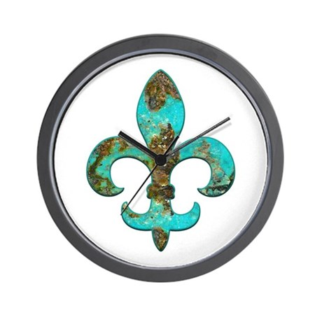 Turquoise fleur de lis wall clock by artegrity Fleur de lis wall