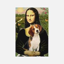 Mona Lisa & Beagle Rectangle Magnet