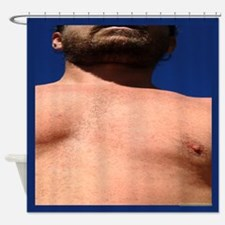 Front Male Chest Shower Curtain