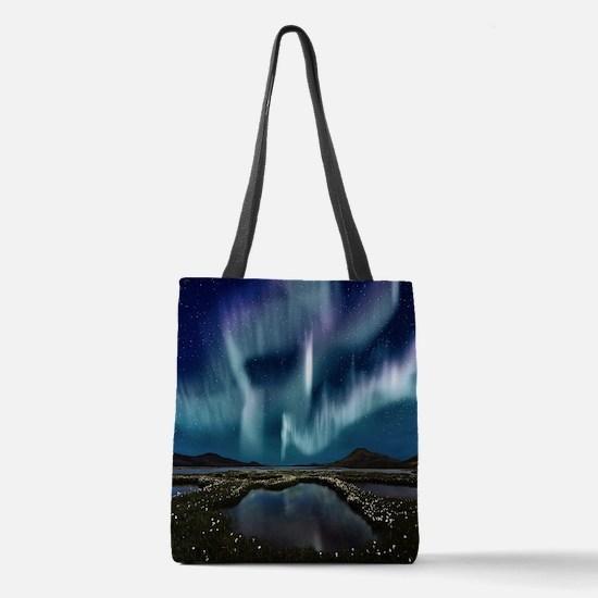 Northern Lights Polyester Tote Bag