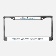Navy Fiancee We Do It Best License Plate Frame