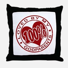 100% Loved By My Godparents Throw Pillow