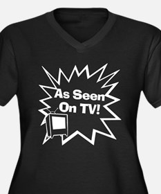 As Seen On TV Women's Plus Size V-Neck Black T