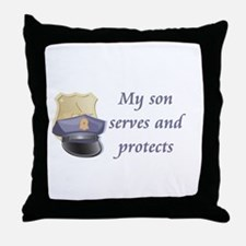 My son serves and protects Throw Pillow