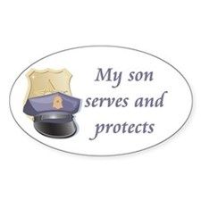 My son serves and protects Oval Bumper Stickers