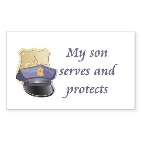 My son serves and protects Rectangle Sticker