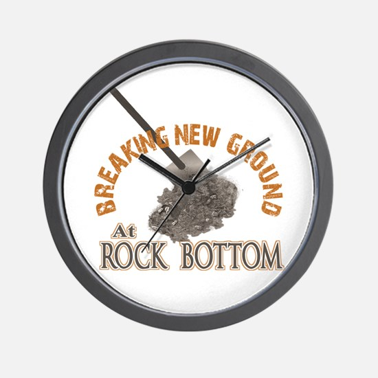 Breaking New Ground At Rock Bottom Wall Clock