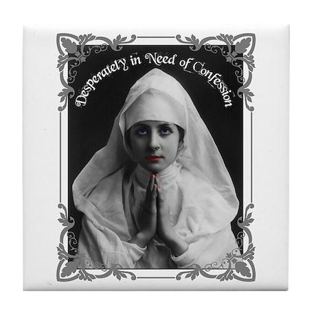 """Nun Confession"" Tile Coaster"