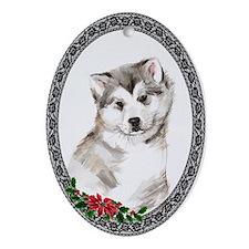 Alaskan Malamute Puppy Oval Ornament