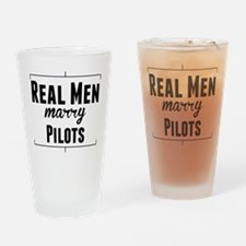 Real Men Marry Pilots Drinking Glass