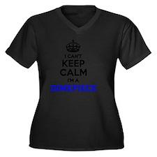 Calm Women's Plus Size V-Neck Dark T-Shirt