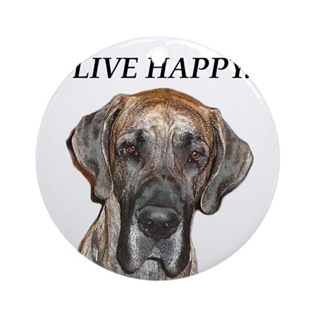 Great Dane Jamie Live Happy Ornament (Round)