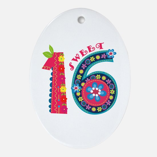 Blooming Sweet 16 Ornament (Oval)