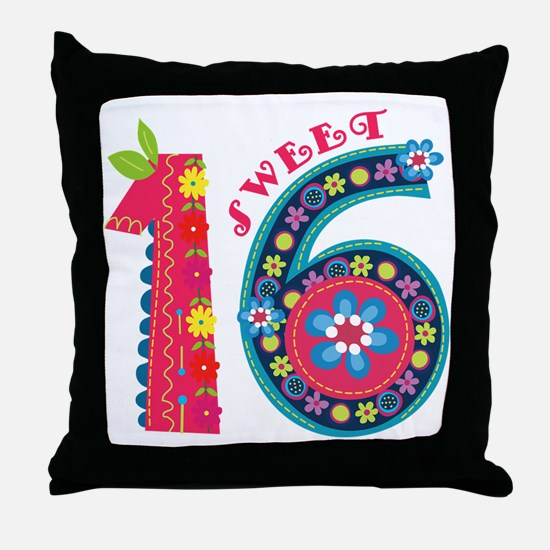 Blooming Sweet 16 Throw Pillow