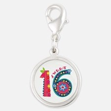 Blooming Sweet 16 Silver Round Charm
