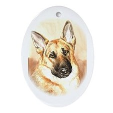 "German Shepherd ""Wistful"" Oval Ornament"
