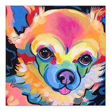 """Cute Chihuahua art Square Car Magnet 3"""" x 3"""""""