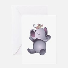 Baby Elephant And Mouse Greeting Cards