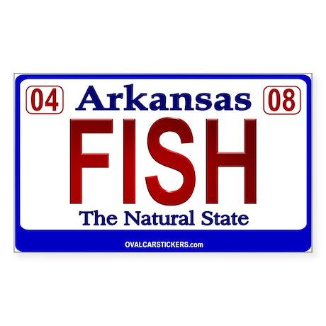 Arkansas license plate fish sticker rectangular by for Arkansas fishing license