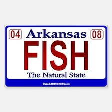 Arkansas License Plate - FISH Sticker (Rectangular