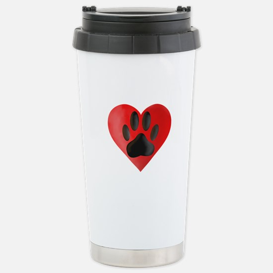 Painted Dog Paw Print I Stainless Steel Travel Mug