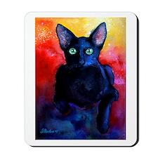 black cat 6 Mousepad