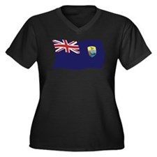 Saint Helena Flag Women's Plus Size V-Neck Dark T