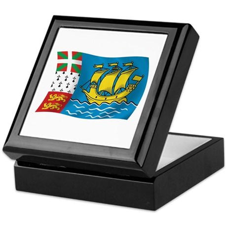 Saint Pierre & Miquelon Flag Keepsake Box