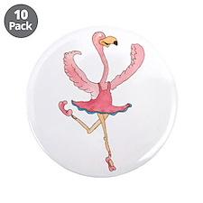 """Ballerina Flamingo 3.5"""" Button (10 pack)"""