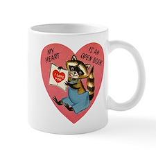 Vintage Raccoon Valentine Mugs