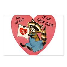 Vintage Raccoon Valentine Postcards (Package of 8)
