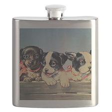Vintage puppies illustration Flask