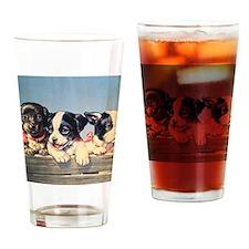 Vintage puppies illustration Drinking Glass