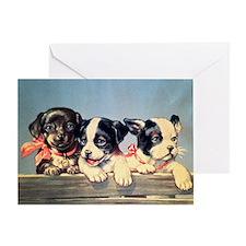 Vintage puppies illustration Greeting Card