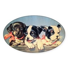 Vintage puppies illustration Decal