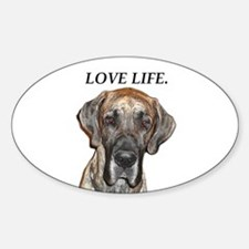 Great Dane Jamie Love Life Oval Decal
