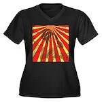 Rising Sun Women's Plus Size V-Neck Dark T-Shirt