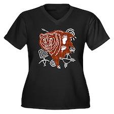 Tribal Bear Women's Plus Size V-Neck Dark T-Shirt
