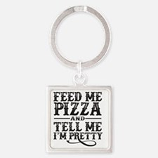 Feed Me Pretty Square Keychain
