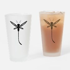 Black on White Dragonfly Drinking Glass