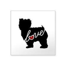 "Yorkiepoo Love Square Sticker 3"" x 3"""