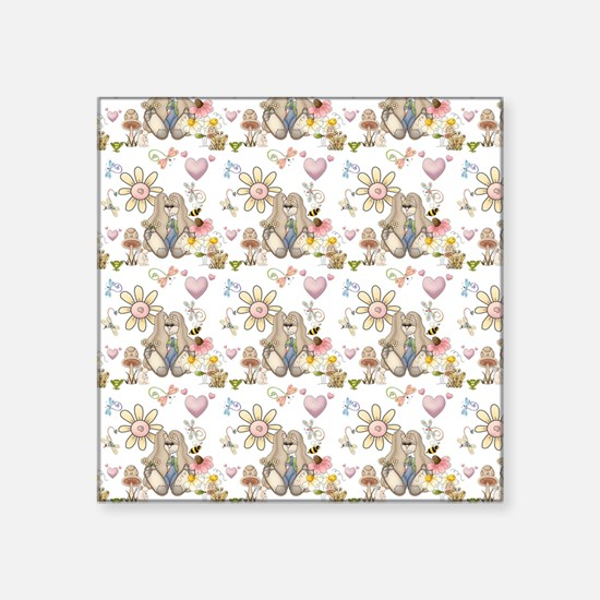 "Cute Bunny Rabbits and Frie Square Sticker 3"" x 3"""