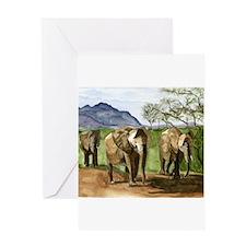 African Elephants of Kenya Greeting Cards