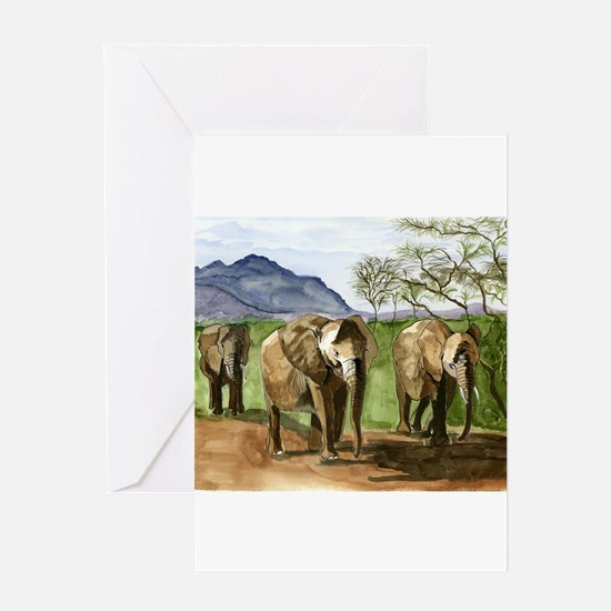 African Elephants of Kenya Greeting Cards
