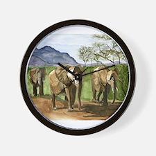 African Elephants of Kenya Wall Clock