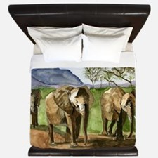 African Elephants of Kenya King Duvet