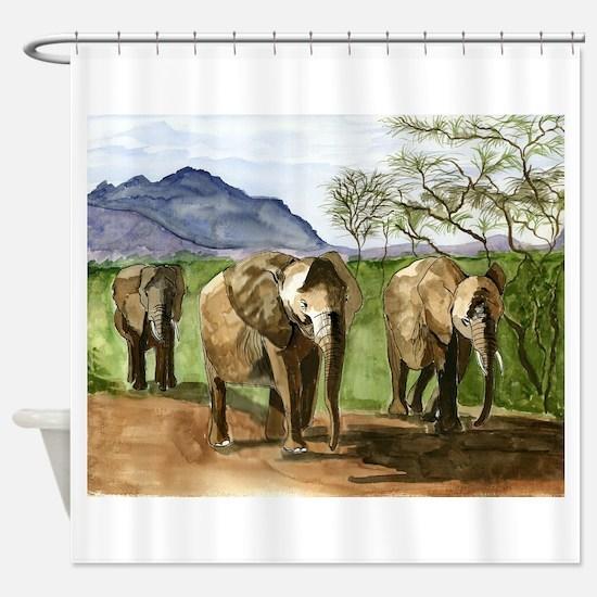 African Elephants of Kenya Shower Curtain