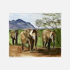 African Elephants of Kenya Throw Blanket