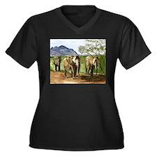 African Elephants of Kenya Plus Size T-Shirt