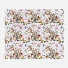 Cute Bunny Rabbits and Friends Throw Blanket